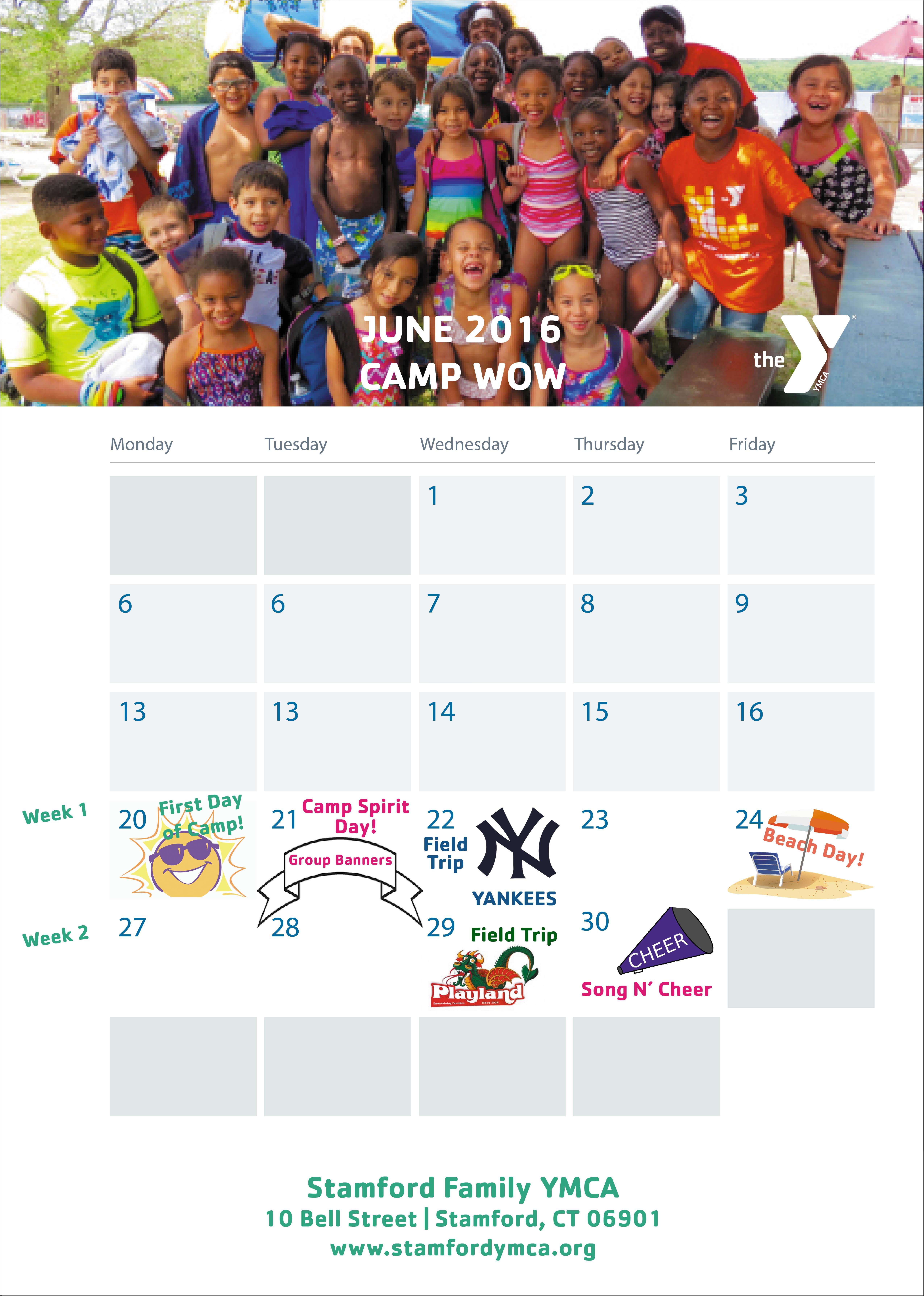 2016 Camp Calendar Print