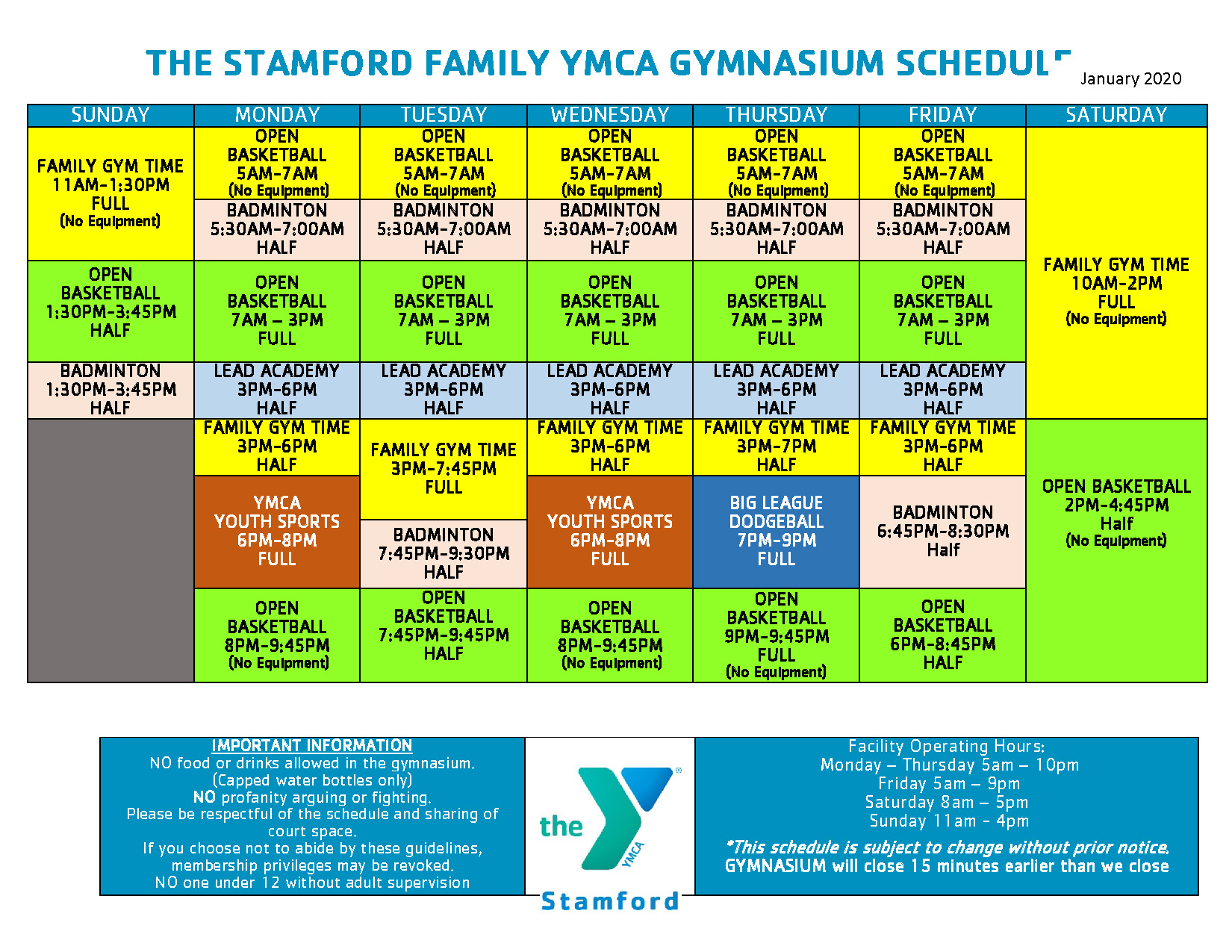 GYMNASIUM SCHEDULE (Jan 2020)